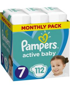 Pampers Active Baby Monthly Pack No 7 (15+Kg) Βρεφικές Πάνες 112 τμχ