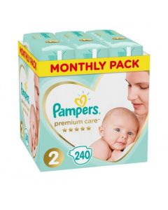 Pampers Premium Care Monthly Pack No 2 (4-8 Kg) Βρεφικές Πάνες 240τμχ