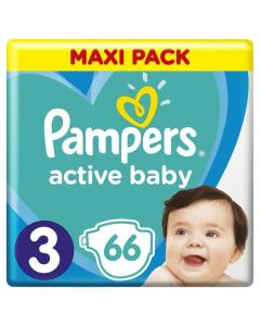 Pampers Active Baby Maxi Pack No 3 (6-10Kg) Βρεφικές Πάνες 66 Τμχ